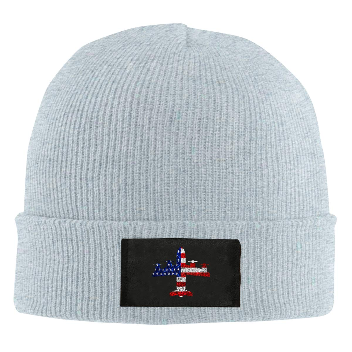 LRHUI Airplane American Flag Winter Knitted Hat Warm Wool Skull Beanie Cap