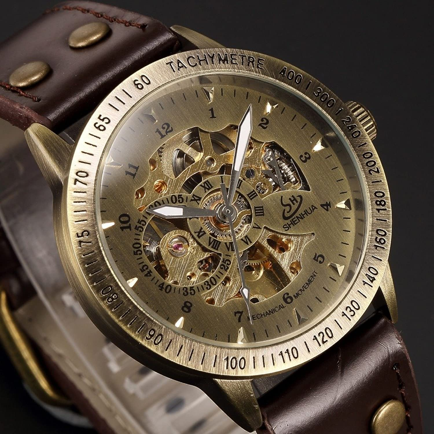 Amazon.com: Mens watch,Self-Winding Automatic Mechanical watch,Classic Luxury Bronze Skeleton Leather Wrist Watch: Watches