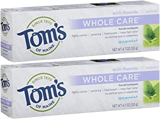 product image for Tom's of Maine Whole Care Fluoride Toothpaste, Natural Toothpaste, Whitening Toothpaste, Spearmint, 4.7 Ounce, 2-Pack