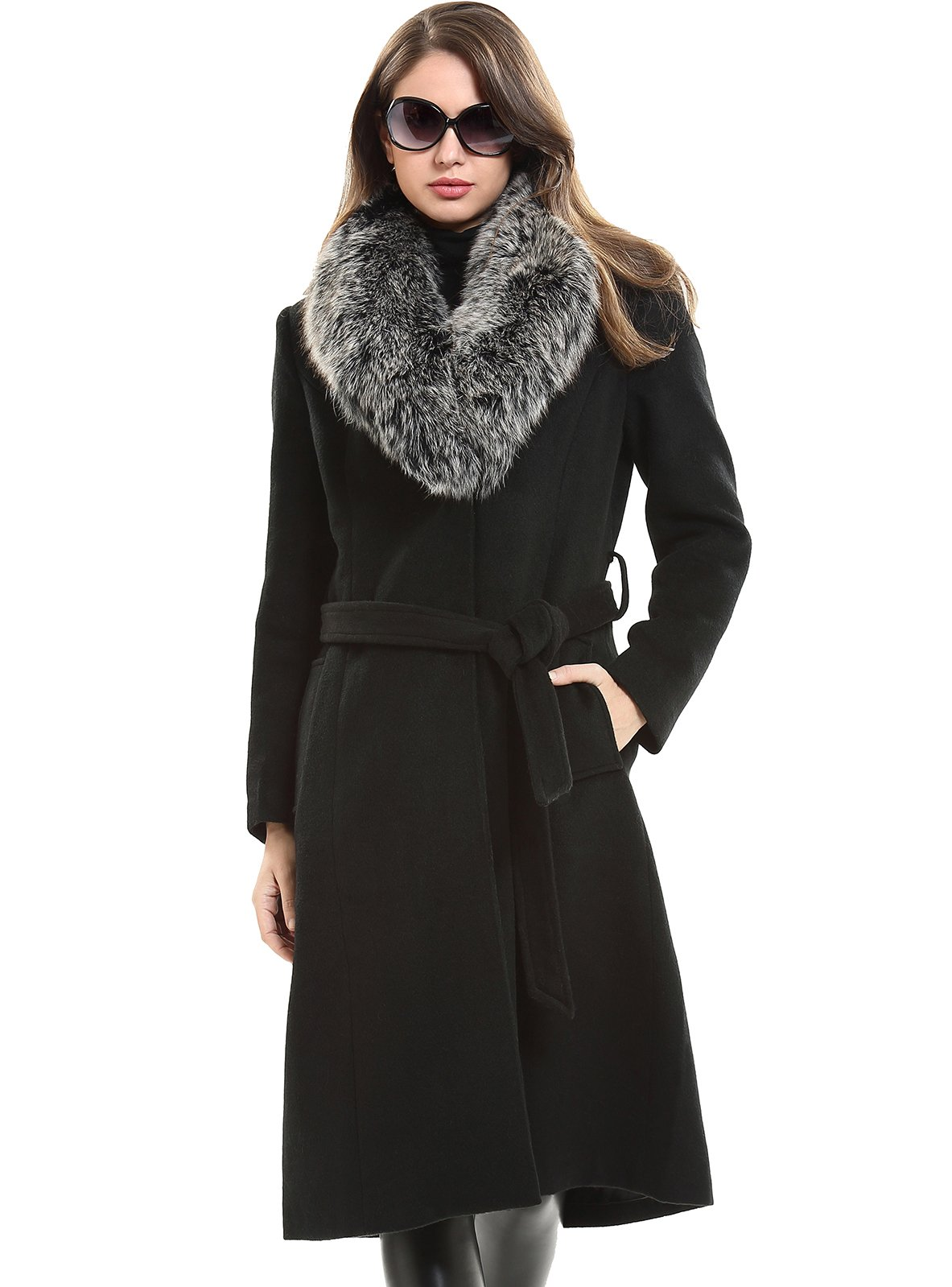 Escalier Women`s Wool Trench Belt Long Coat with Fur Collar Black 4XL by Escalier (Image #1)