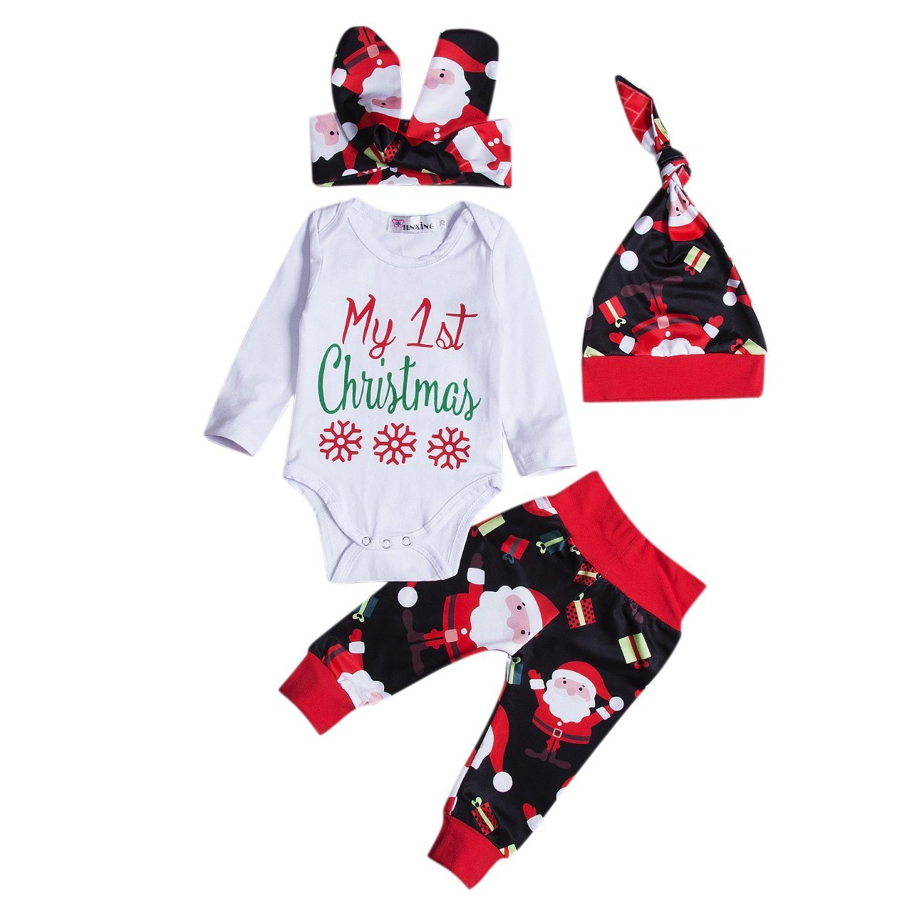 4Pcs Newborn Baby Girl Christmas Romper Pants Hat Headband Outfit Clothes Set