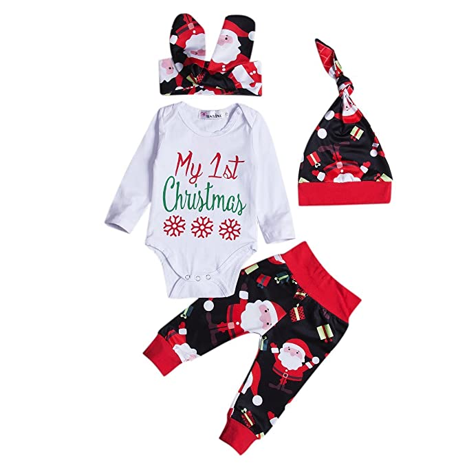 34723c6b3496 4Pcs Newborn Baby Girl Christmas Romper Pants Hat Headband Outfit ...