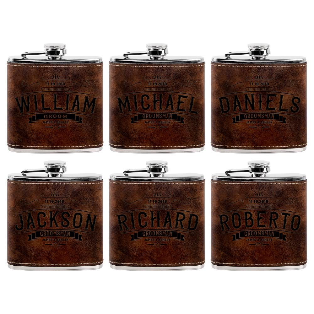 Set of 6 - Personalized Groomsmen Flasks, Groomsmen Gifts | 6oz Leatherette Personalized Flask for Liquor w Optional Gift Box - Personalized Groomsman Proposal Gifts | Wedding Favor #4 RUSTIC
