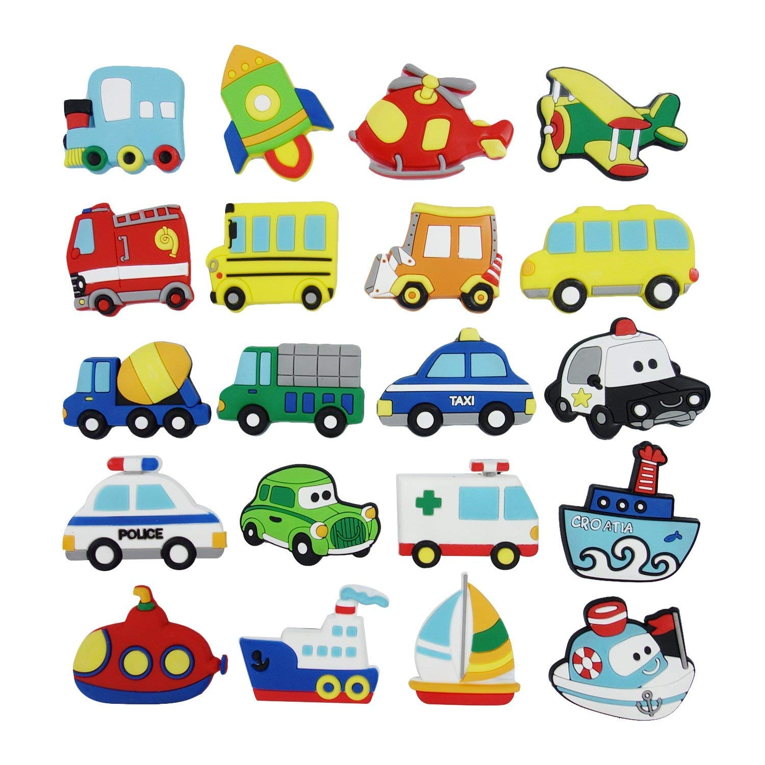 3D Vehicle Refrigerator Magnets, Pococina 20 Pack Vehicle Magnets Set, Funny Vehicle Helicopter Watercraft Rocket Fridge Magnet Set for Kids Kitchen Home Decor Classroom Office