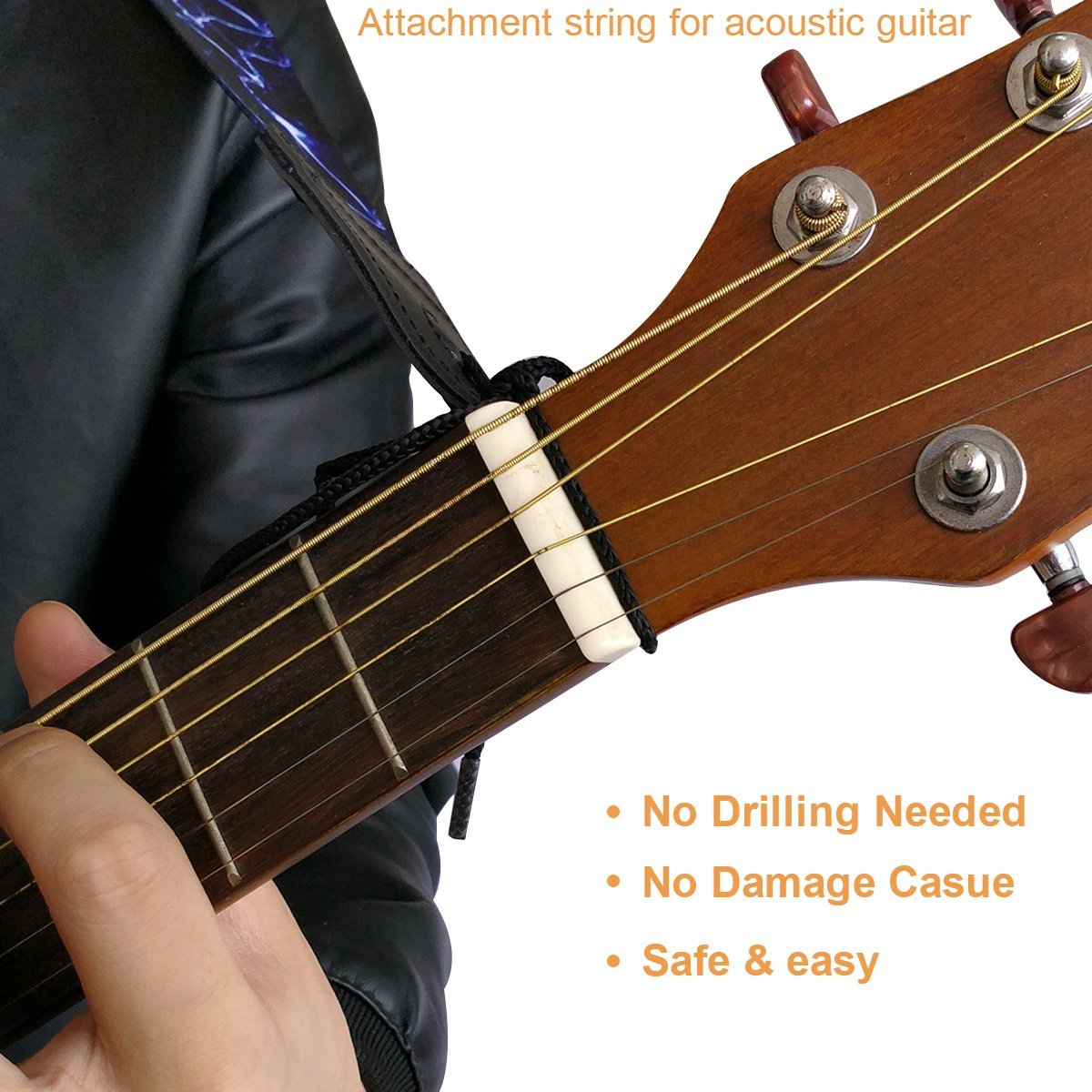 Paquete de correa de guitarra que incluye un conjunto de cerraduras de correa / 1 protección de punta / punta para guitarras de bajo, eléctricas y ...