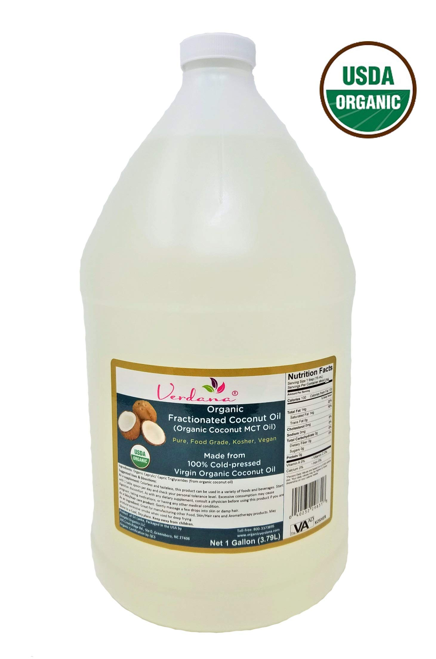 Verdana Organic MCT Oil – USDA Organic Fractionated Coconut Oil - 1 Gallon - Kosher - 100% Made from Organic Coconuts – True Medium Chain Glycerides C8 and C10- Best Coconut MCT for Keto and Paleo by Organic Verdana (Image #1)