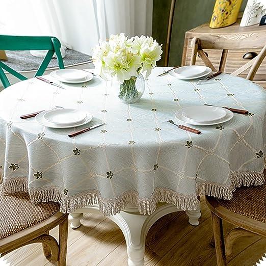 WENJUN Mantel de algodón y Lino Bordado Circular para Mesa de ...