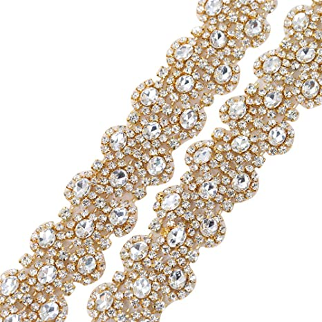 1 Yard embroidered Glittery lace trimming ribbon Wedding dress making Gold//Mix