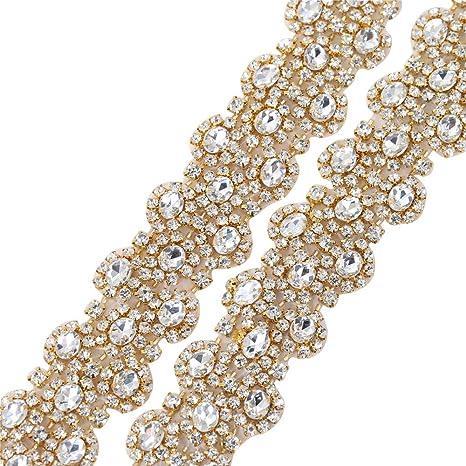 XINFANGXIU 1 Yard Gold Rhinestone Beaded Wedding Dress Applique Sparkly for  Bridal Ribbon Belt Iron on 2ed2ae88e521