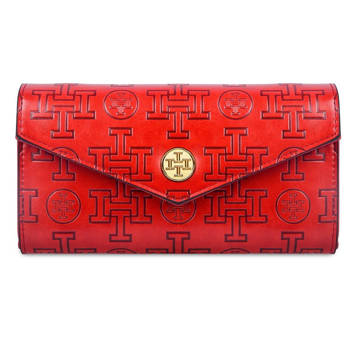 Leather Wallet for Women, i5 Stylish clutch purse designer fashionable card holder zipper bag (red)