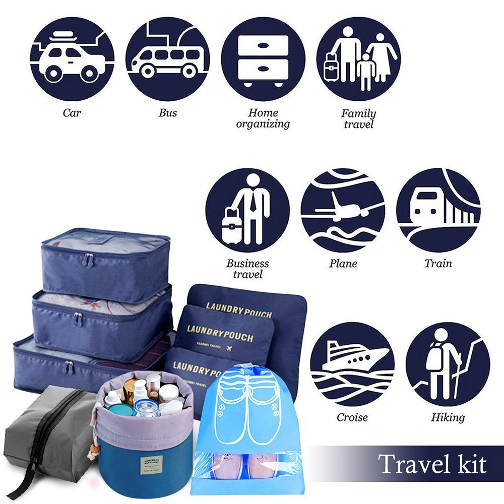 Packtaschen dunkelblau die verschiedensten Gegenst/ände getrennt in den Koffer sortieren.6 st/ück. Sechs teilige Set koffertaschen Flexible Speicher Reisetasche
