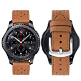 iBazal 22mm Cinturino Pelle pour Samsung Gear S3 Frontier/Classic SM-R760, Moto 360 2nd Gen 46mm, Huawei Watch 2 Classic - Classico Marrone