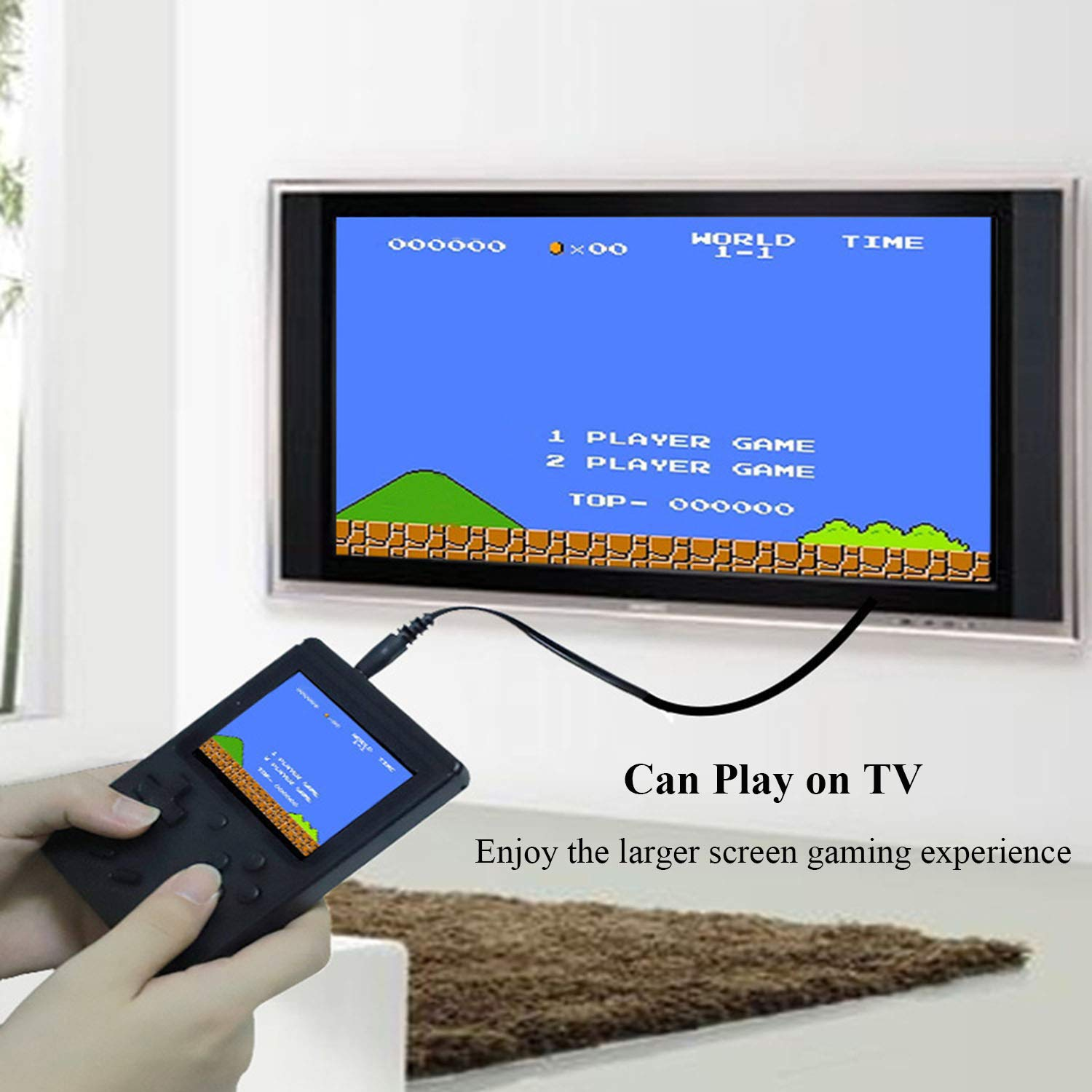 JAFATOY Retro Handheld Games Console - 168 Classic Games 8 Bit Games 3 inch Screen Video Games with AV Cable Play on TV (Black) by JAFATOY (Image #5)