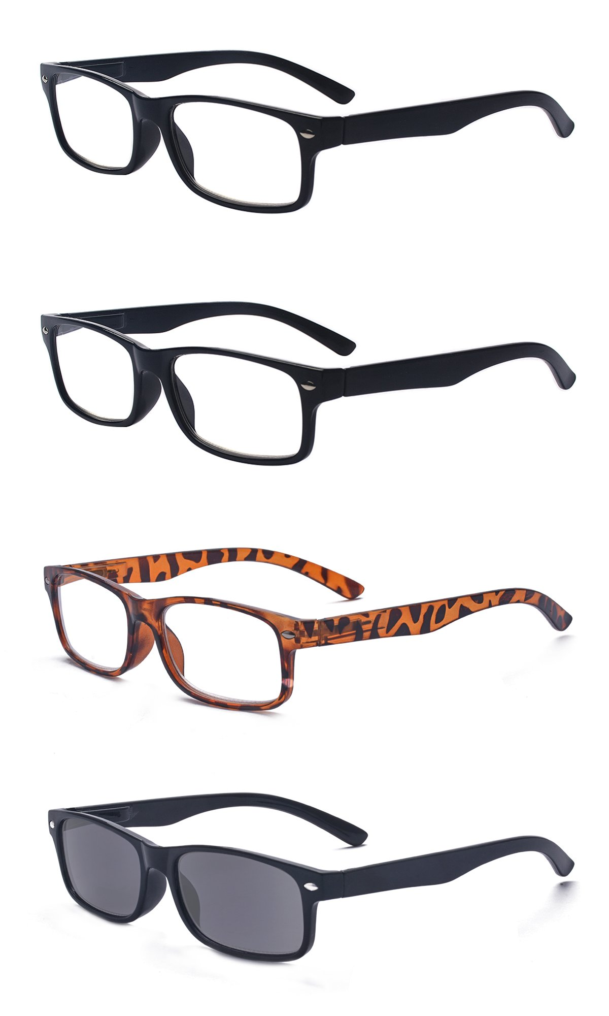 80a50503f1 Galleon - Outray Men Or Women 4 Pack Mixed Color Spring Hinges Frame  Rectangular Reading Glasses 4.00