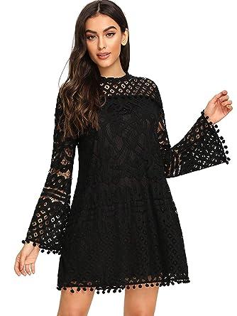 886319e1ab2738 SheIn Women's Crochet Pom-Pom Sheer Lace Bell Sleeve Dress X-Small Black