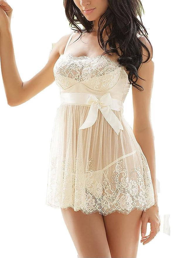 Ruzishun Sexy Lingerie for Women White Lace Nightwear Perspective Sleepwear Underwear (M)