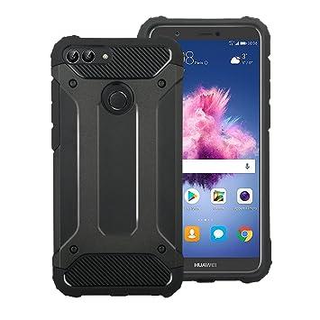 Electro-weideworld Huawei P Smart Funda, [Doble Capa] TPU + PC Carcasa de Protección Hibrida Armadura Funda para Huawei P Smart/Huawei Enjoy 7S