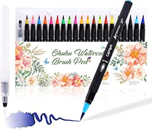 Watercolor Brush Markers Pen, Ohuhu Water Based Drawing Marker Brushes W/A Water Coloring Brush, Water Soluble for Adult Coloring Books Calligraphy (24 Colors)