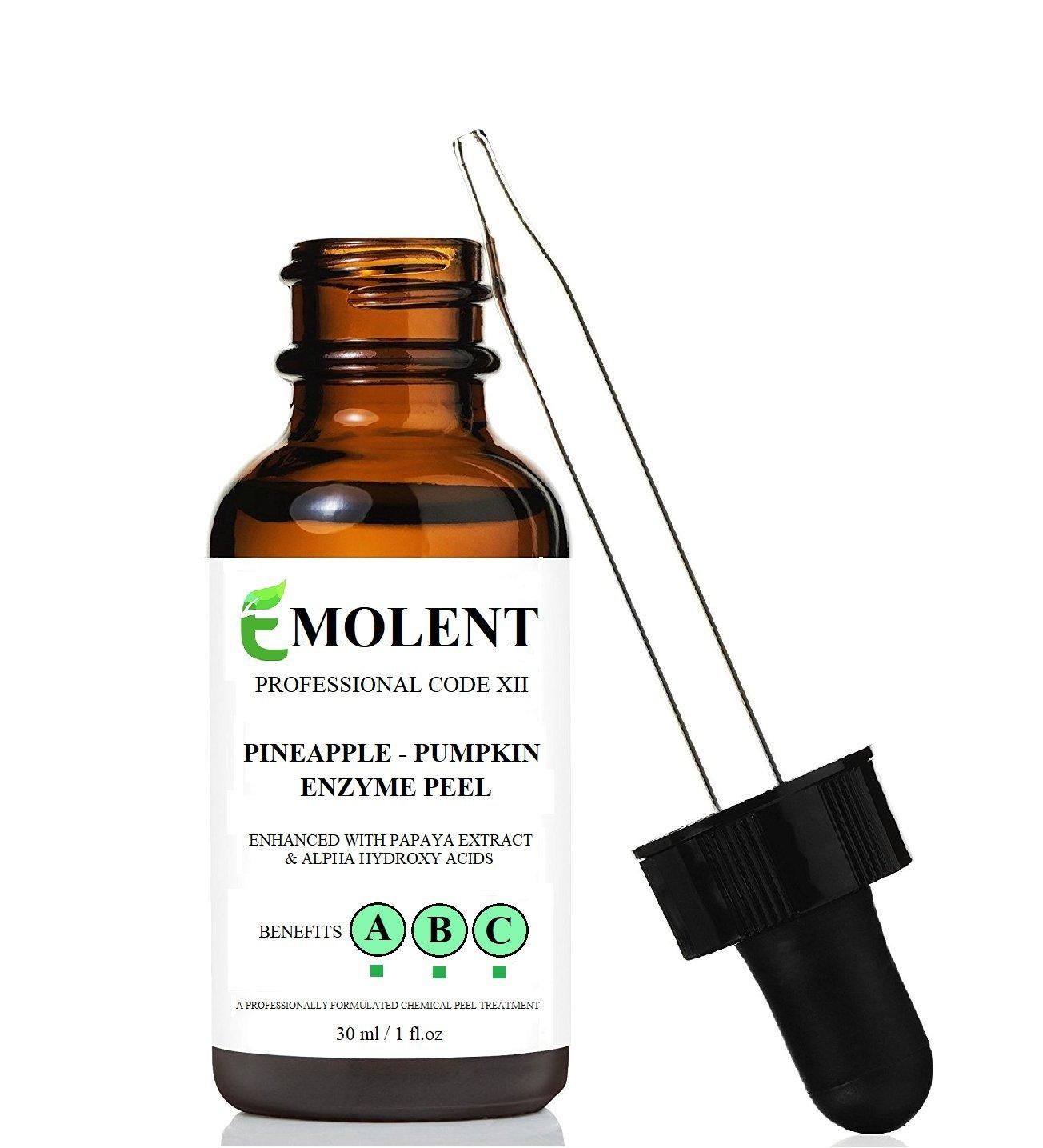EMOLENT, Pineapple Pumpkin Enzyme Professional Skin Peel, Enhanced with Papaya Extract & Alpha Hydroxy Acids, 1 Fl.oz / 30 ml