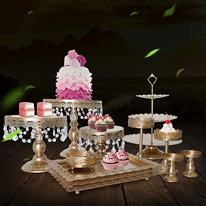 54aba9259c8f 12 Pieces/Set Gold Cake Stands and Pastry Trays,Metal Wedding Cupcake Stand  Set Pedestal/Display/Plate/Stands and Trays with Crystals and ...