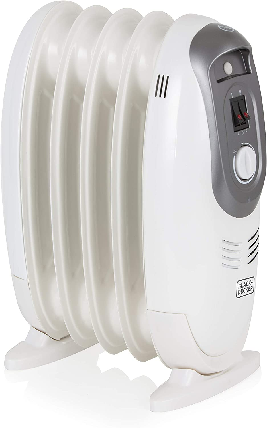 BLACK+DECKER BXRA43006GB Compact Oil Filled Radiator with 2 Heat Setting and Adjustable Thermostat, 600 W, White