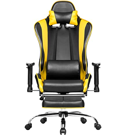 Sensational Amazon Com Big And Tall Gaming Chair W Footrest Julyfox Squirreltailoven Fun Painted Chair Ideas Images Squirreltailovenorg