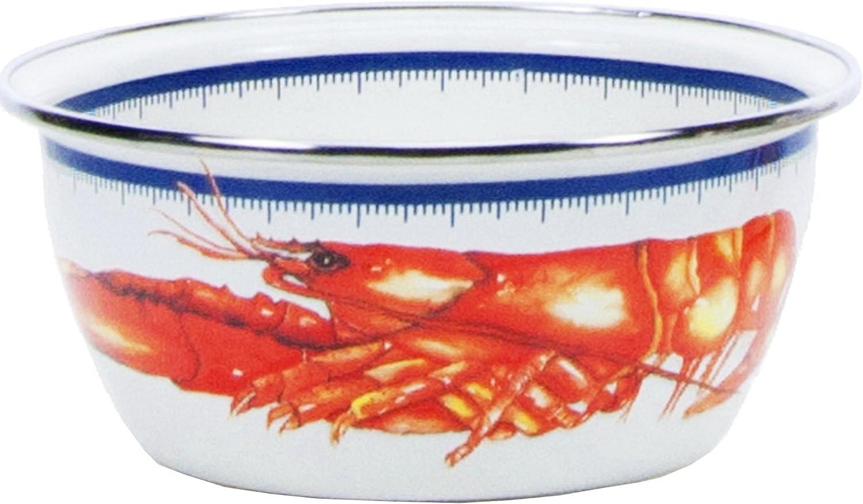 3 Cup Salad Bowl Golden Rabbit Enamelware Lobster Pattern