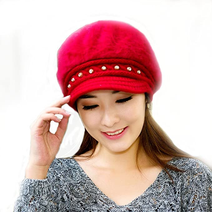 bc5d23b914982 VONRU Women Winter Fitted Hats Casual Luxury Brand Knitted Wool Cap ...