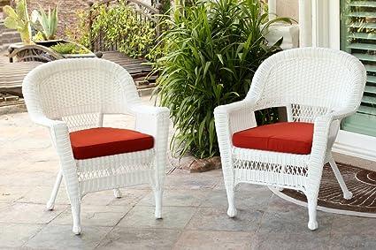 Amazon Com Jeco W00206 C 2 Fs018 Cs Wicker Chair With Red Cushion