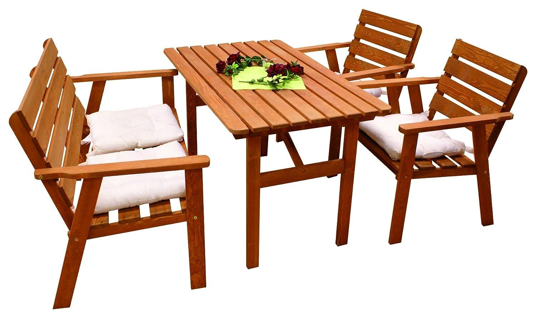 Dynamic24 4tlg. Kiefer Garten Holz Sitzgruppe Tisch Bank Stühle Sessel Stuhl Gartenmöbel