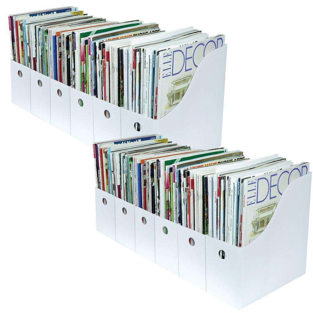 Evelots Set of 12 Magazine File Holders Desk Organizer, File Storage with Labels