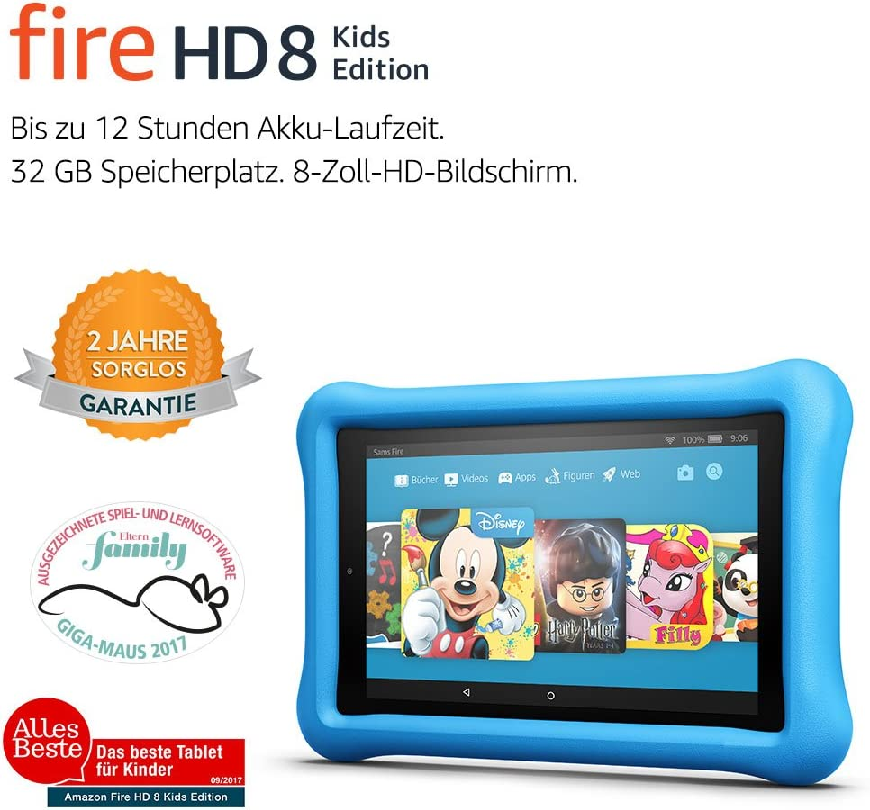 Fire Hd 8 Kids Edition Tablet 20 3 Cm 8 Zoll Hd Display 32 Gb Blaue Kindgerechte Hülle Vorherige Generation 7 Amazon Devices