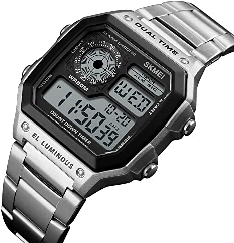 Mens Digital Square Face Sport Watch with Alarm Stopwatch Luminous
