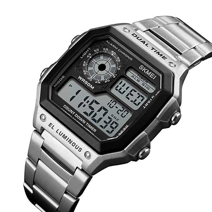 Amazon.com: Mens Multi-function Dual-Time Watch; Countdown Alarm Luminous Stainless Steel Band Watch: Watches