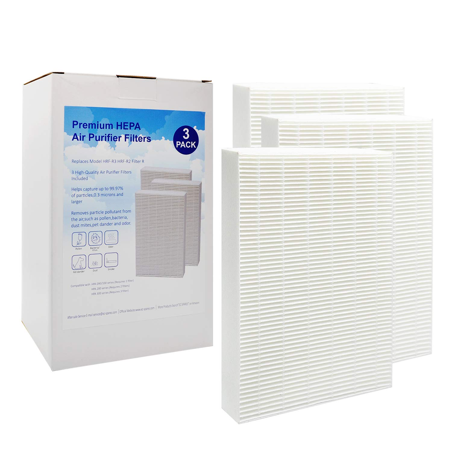 EZ SPARES 3Pcs True Hepa Filter Replacement for Honeywell Air Purifier Models HPA300, HPA100 and HPA200,Compared with HRF-R2, HRF-R3, Filter R