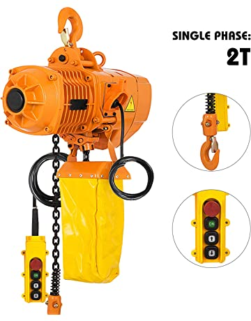 vevor 2 ton industrial electric chain hoist single phase 4400lbs 10ft lift  height electric chain hoist