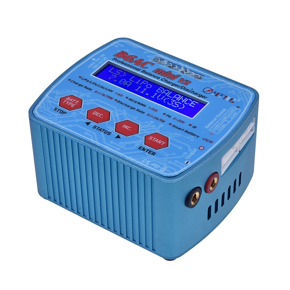 HTRC B6AC Mini V2 AC DC Dual Power 70W 7A Digital RC Balance Charger Discharger for Lipo Lihv LiIon LiFe NiCd NiMH Battery Built-in Cooling Fan B075PFT4TK