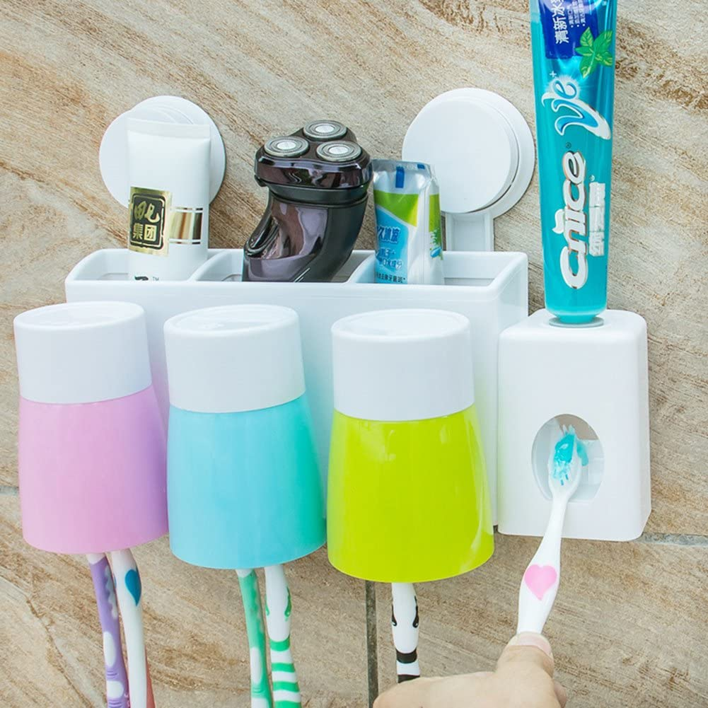 Absorption Wall Toothbrush Holder Sets Toothbrush Shelf Tooth Brushing Cup Brush Cup Toothpaste Dispenser Toothpaste Holder Toothbrush Box A Amazon Co Uk Diy Tools