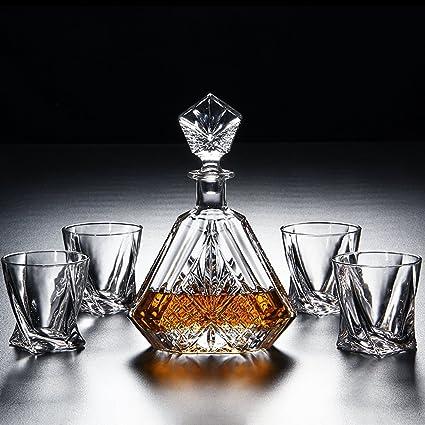 FYX-cup Juego de Botellas de Vino de Cristal para Whisky o Whisky, Diseño