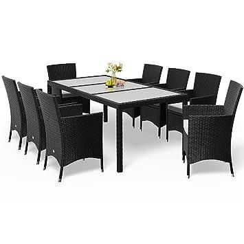 Deuba Poly Rattan Sitzgruppe 8+1 Schwarz | 8 Stapelbare Stühle | 7cm Dicke  Sitzauflagen