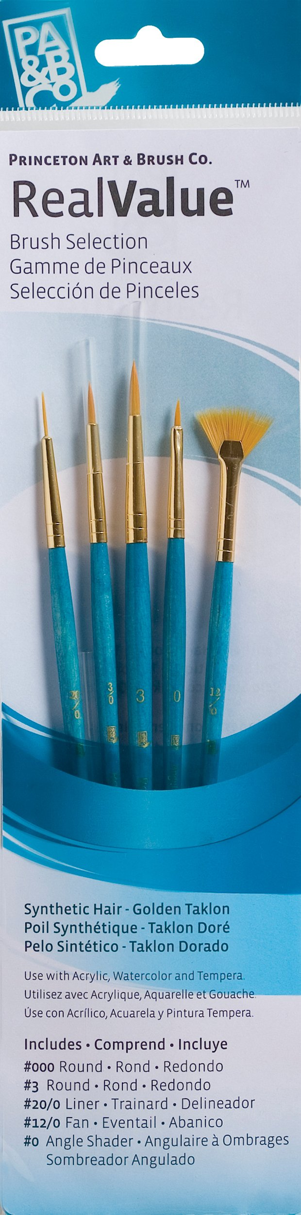 Princeton Art & Brush P9170 Real Value Brush Set, Synthetic Gold Taklon, Round 3/0, Liner 20/0, Fan 12/0, ANG 0