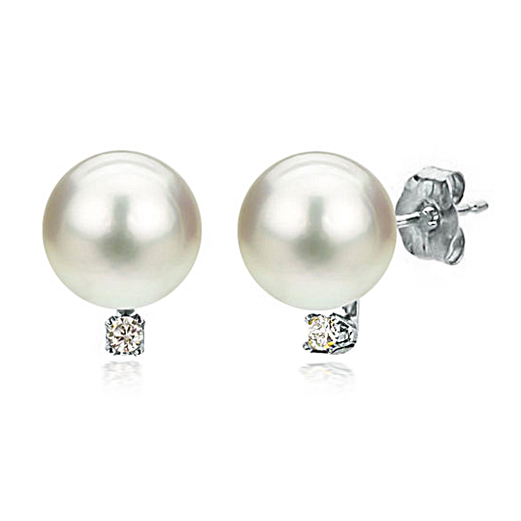 Freshwater Cultured White Pearl Diamond Earrings 14K White Gold Studs Birthday Gift 1/50 CTTW 7-7.5mm