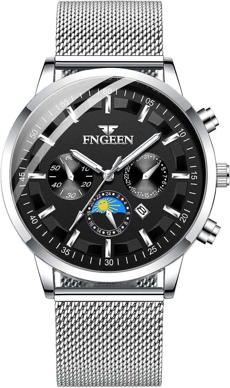 Infinito U-Relojes para Hombre Impermeable Correa de Acero Inoxidable Analógico de Cuarzo Relojes de Pulsera Reloj de Negocios para Hombres Puntero Luminoso