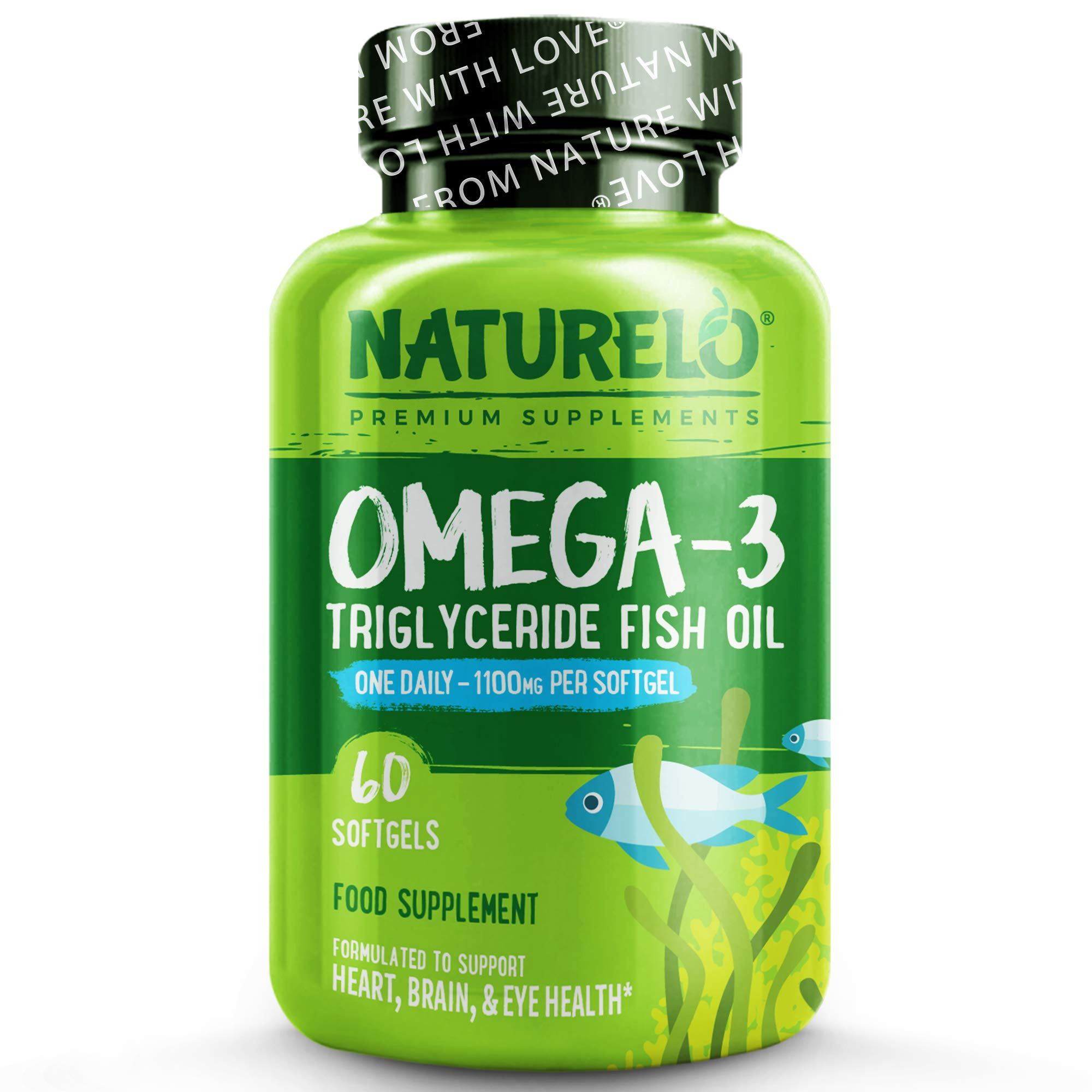NATURELO Omega-3 Fish Oil - with EPA & DHA - 1100 mg Triglycerides Per Capsule - Best Supplement for Heart, Eye, Brain Health - No Burps - Lemon Flavour - One A Day - 60 Softgels | 2 Month Supply