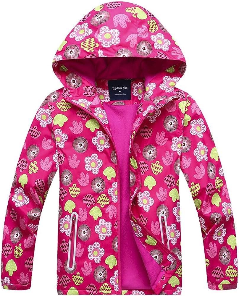CADong Girls Outdoor Floral Fleece Lined Light Waterproof Windproof Jacket with Hood