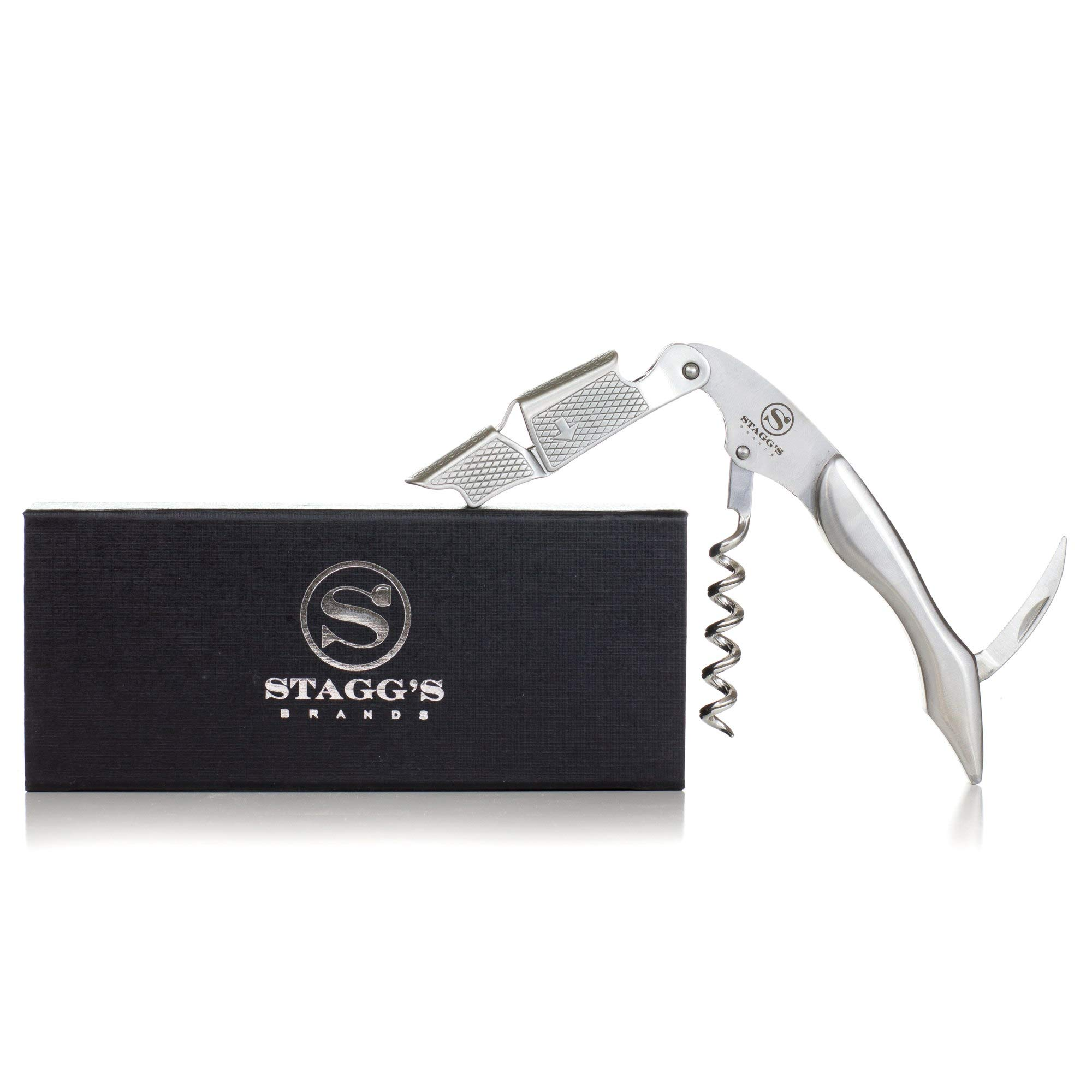 Premium Double Hinged Waiter's Wine Corkscrew by Stagg's Brands- Solid Stainless Steel Wine Key- Perfect Wine Opener for Waiters, Sommeliers and Bartenders (Stainless Steel)