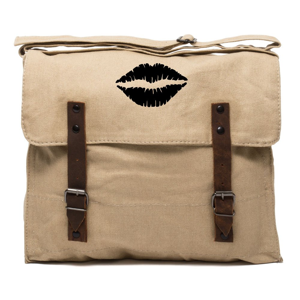 Kiss Mark Lips Army Heavyweight Canvas Medic Shoulder Bag in Olive