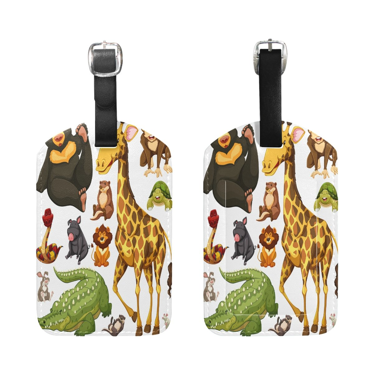 Saobao Travel Luggage Tag Different Types Of Wild Animals PU Leather Baggage Suitcase Travel ID Bag Tag 1Pcs
