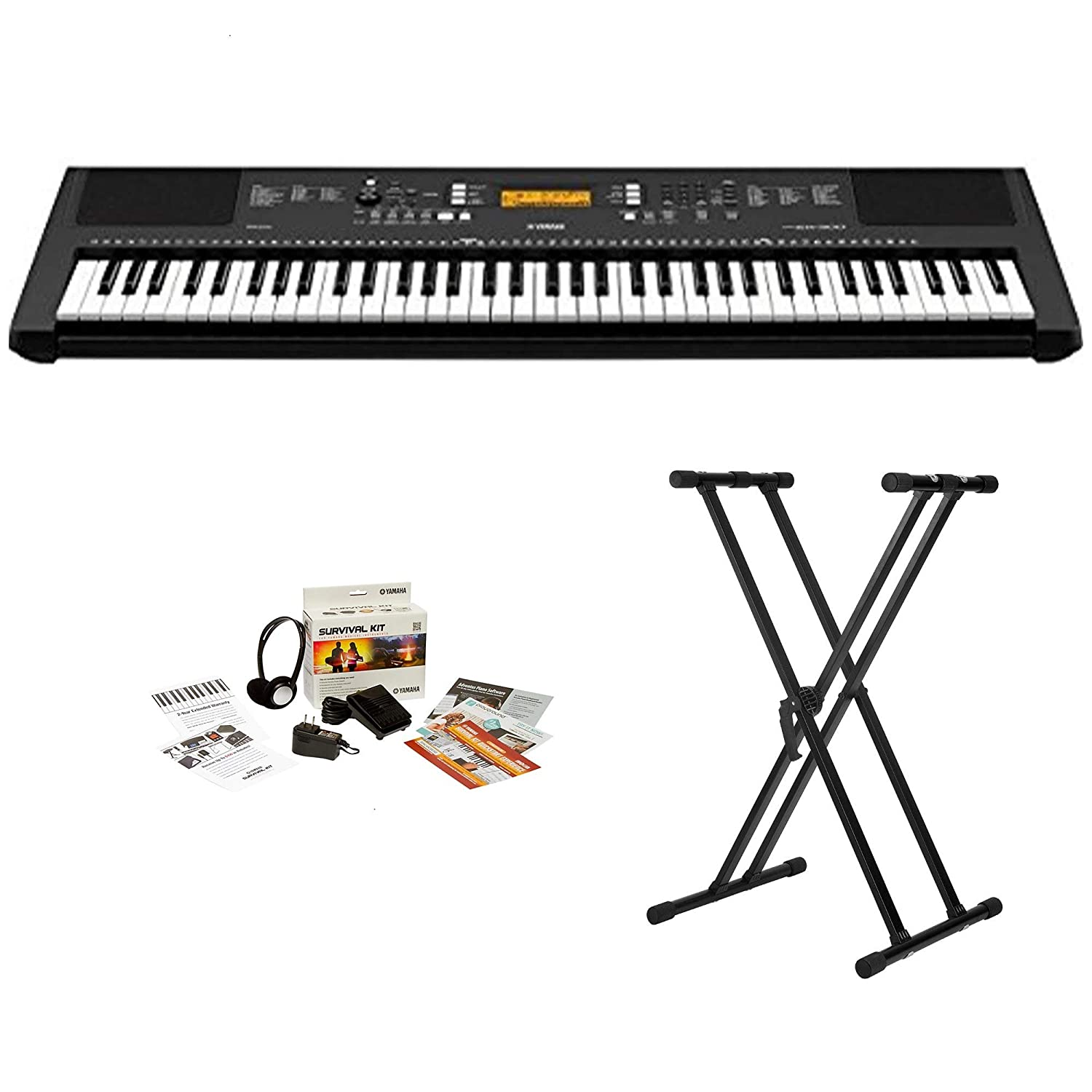 Yamaha PRSEW300 76 Key Portable Keyboard With Knox Adjustable Stand /& Power Adapter