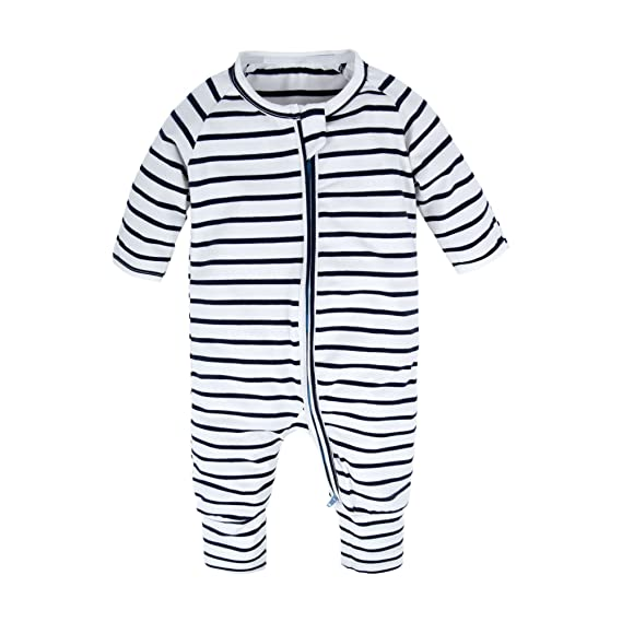 65cee2ec77a BIG ELEPHANT Baby Boys 1 Piece Long Sleeve Sleepwear Graphic Print Zipper  Romper Stripe T80-73 3-6 Months  Amazon.in  Clothing   Accessories